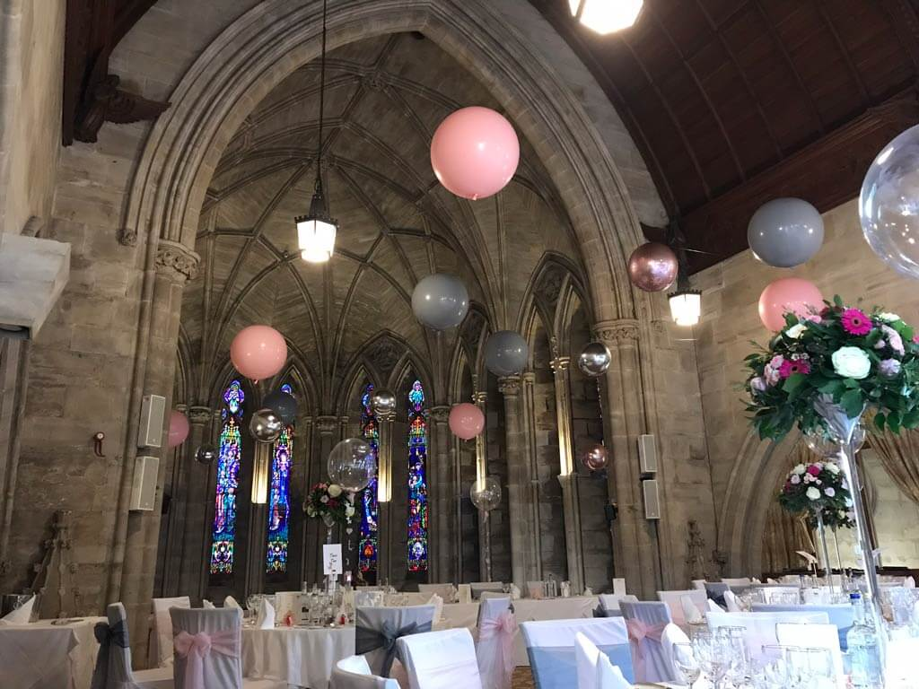 Ashdown Park Hotel and Country Club wedding suspended balloon ceiling East Sussex