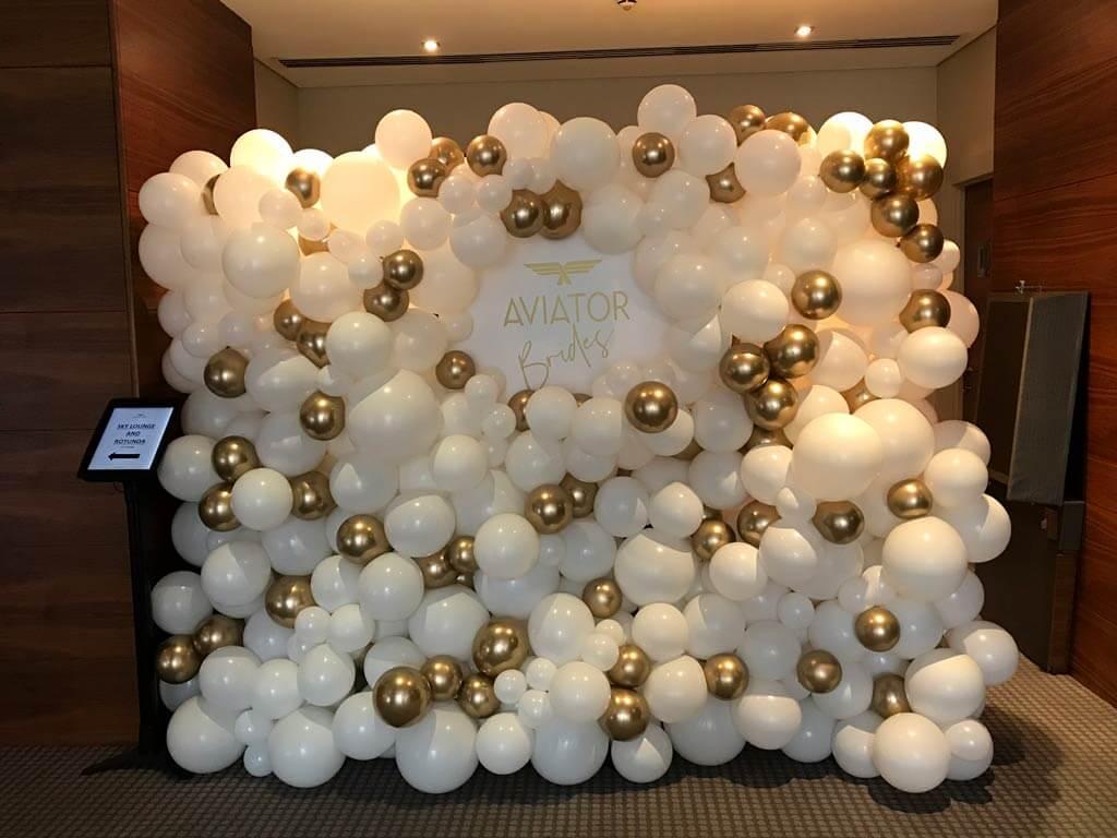 Aviator brides wedding fair organic balloon wall Hampshire