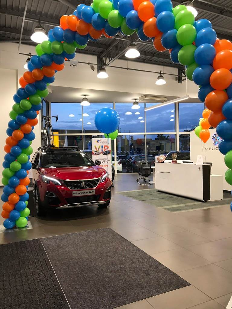 Charters Group Peugeot corporate balloon structured arch Airmagination Aldershot Hampshire