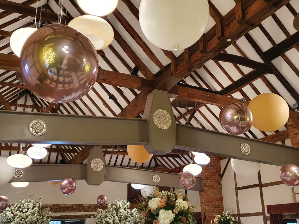 Lainston hotel suspended ceiling with 3ft giant balloons and orbz 2 Airmagination