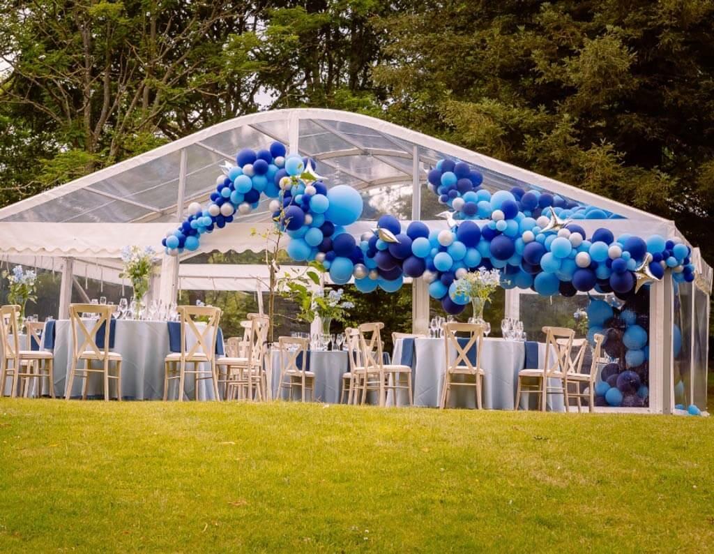 Marquee garden party organic balloon installation Airmagination Sussex 2