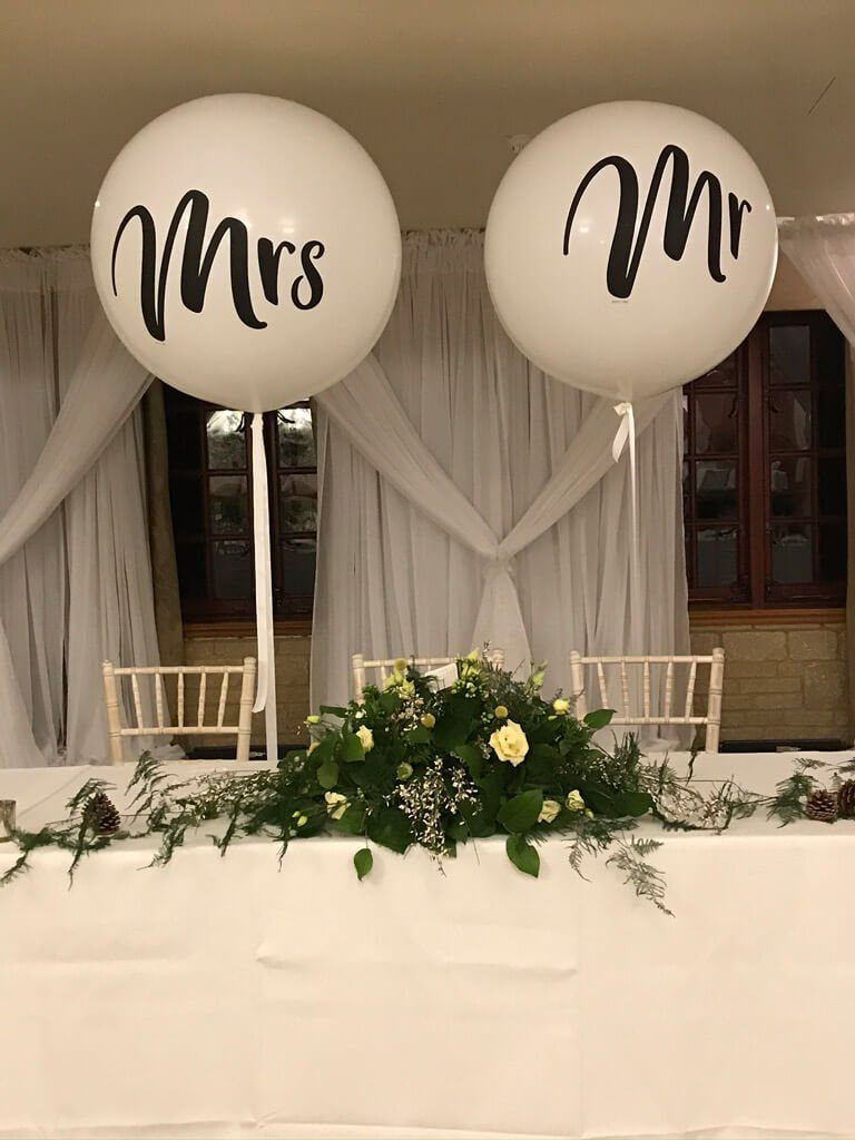 Pennyhill Park Mrs and Mr Wedding Balloons