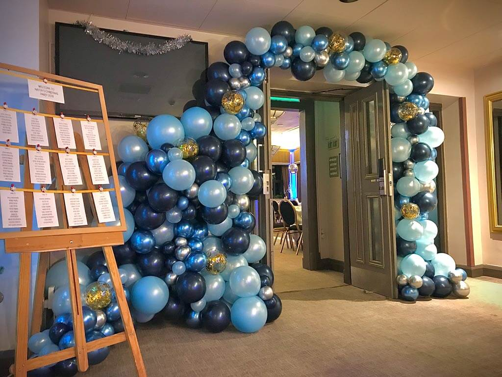 The Hogs Back Hotel christmas party organic balloon entrance arch Airmagination Surrey 1