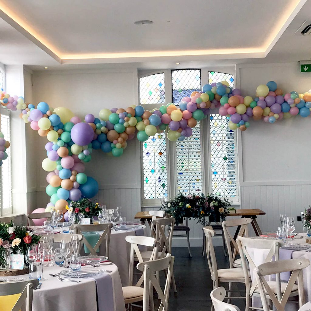 Pastel bespoke balloons for weddings at the Brighton Harbour Hotel