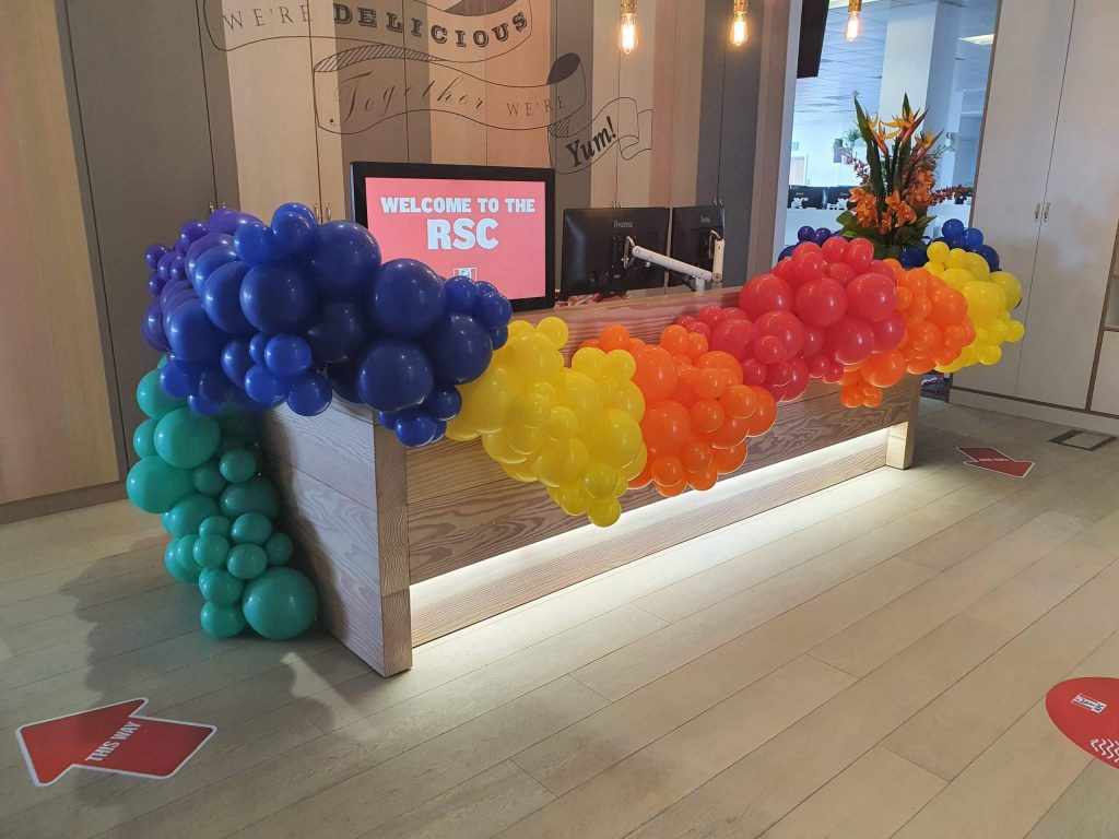 KFC Rainbow Garland balloons installed by Airmagination Balloon Company